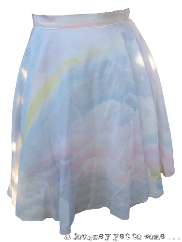 Upcycled Cloud Print Duvet Cover 3/4 Circle Skirt