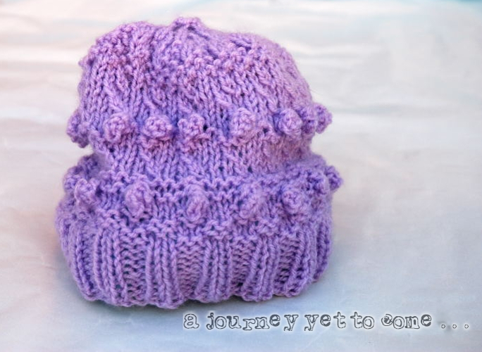 Purple Knitted Adult Bobble Hat