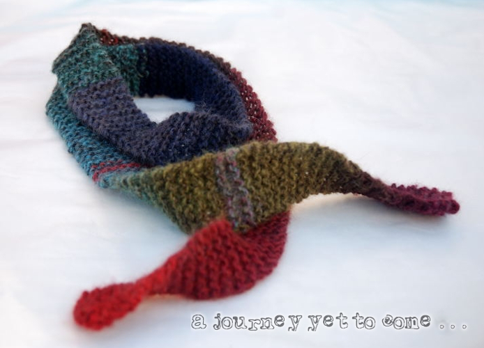 Thin Multi Colour Knitted Scarf