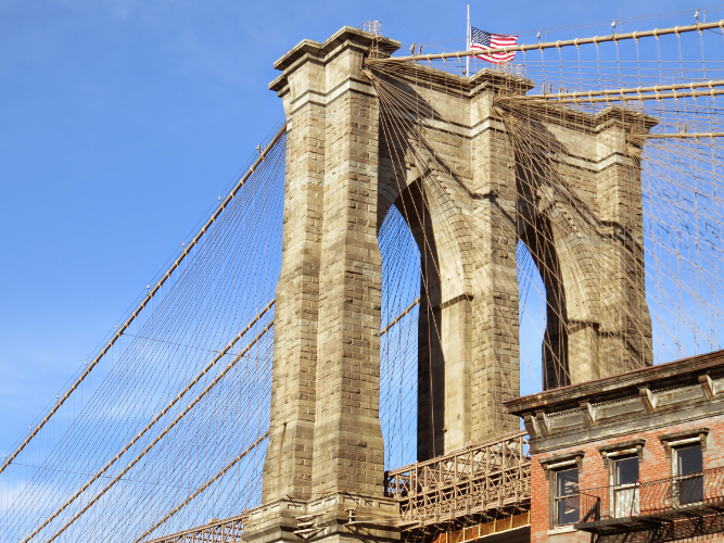 Down Under Brooklyn Bridge - New York City USA - Jan 2015